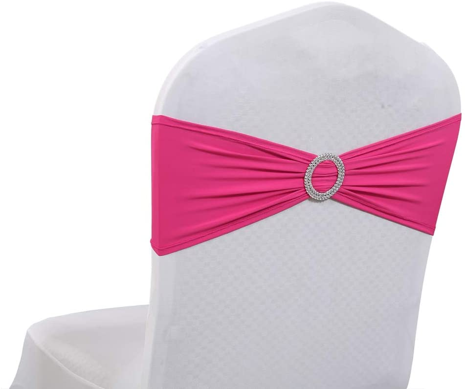 mds Pack of 250 Pcs Spandex Chair Sashes Bows Elastic Chair Bands Ties with Buckle Slider Bow for Wedding Decoration Lycra Slider Sashes Bow - Magenta