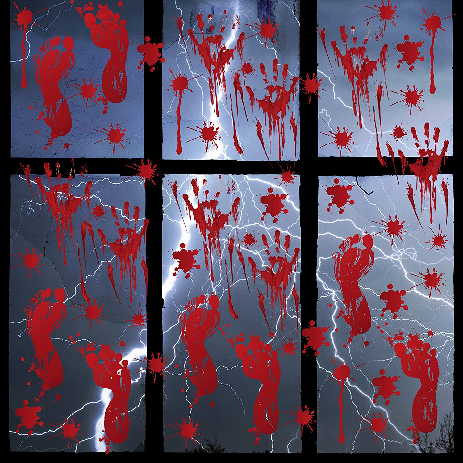 80 Pcs Halloween Bloody Handprint Footprint Floor Stickers Window Clings Decoration Horror Bathroom Zombie Decals Stickers for Halloween Party Supplies (8 Sheets)