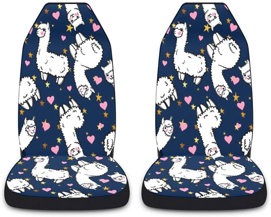 CUXWEOT Red Heart Alpaca Car Seat Covers for Front Set of 2 Vehicle Seat Protector Car Pet Pup Mat Fit Most Car,Truck,SUV,Van