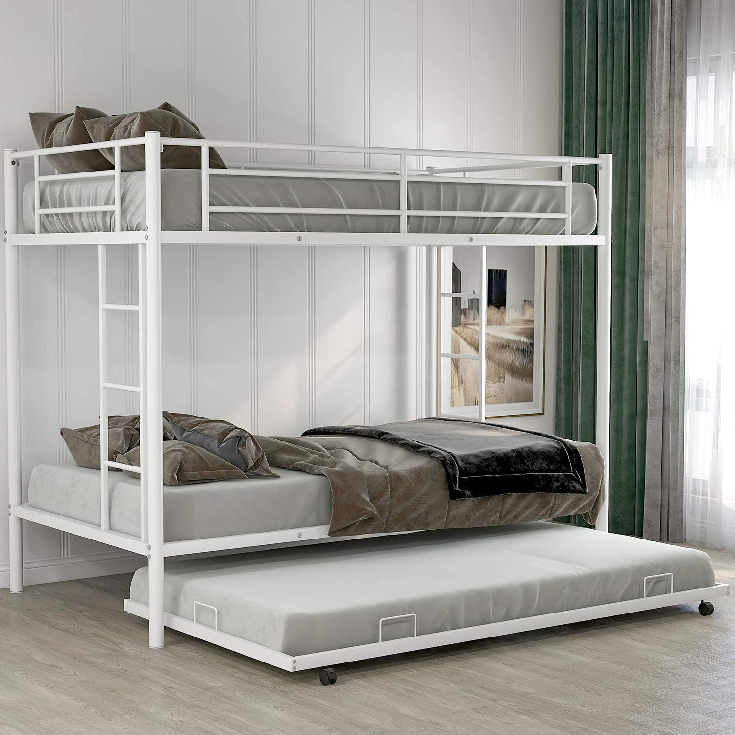 Twin Over Twin Metal Bunk Bed with Trundle, Rockjame Space Saving Design Sleeping Bedroom Bed Frame with 2 Ladders and Safety Rail for Boys, Girls, Kids, Young Teens and Adults (White)