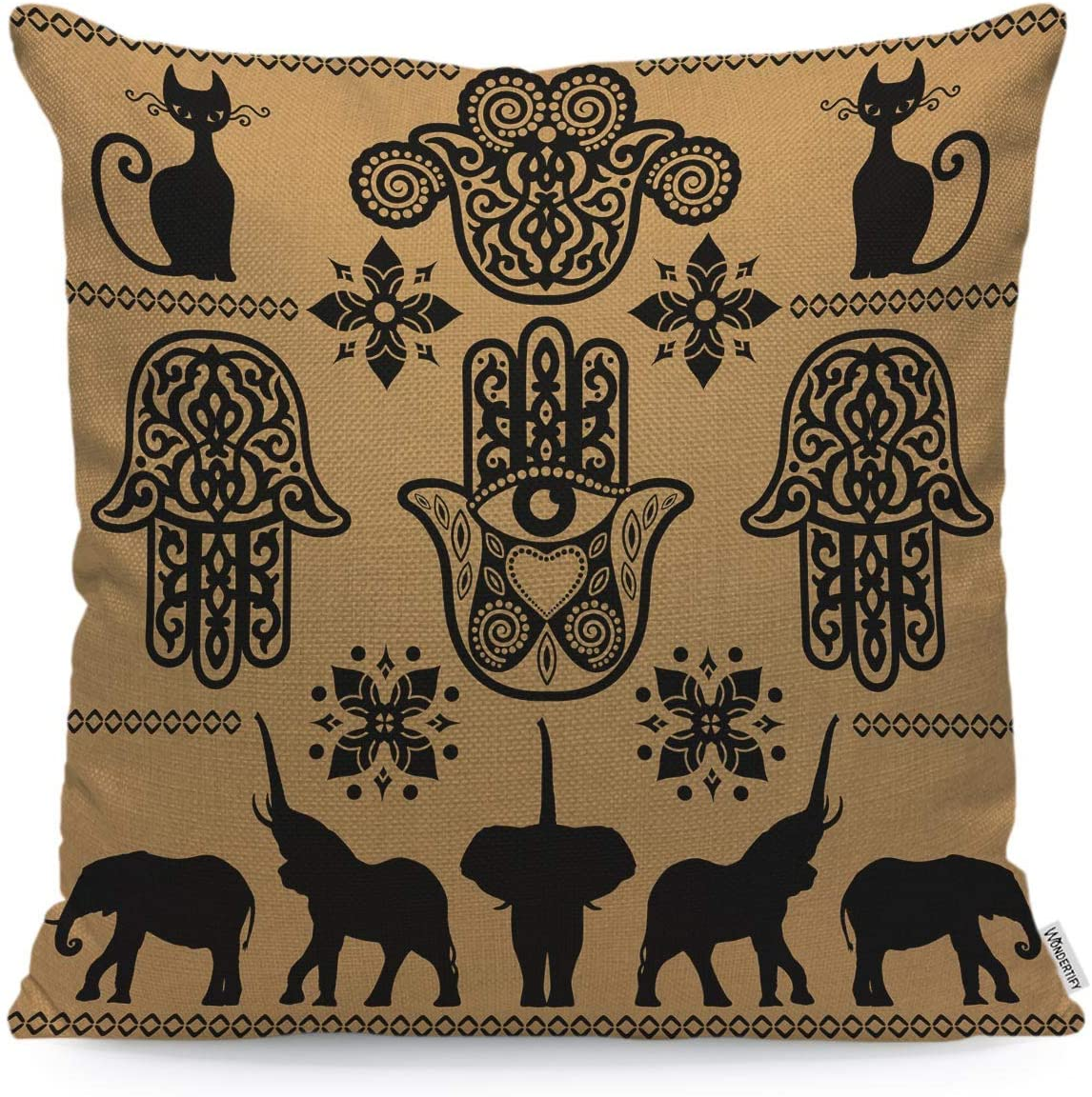 WONDERTIFY Throw Pillow Case Cover Indian Ethnic Cat Elephant Hand Pattern Black Beige - Soft Linen Pillow Case for Decorative Bedroom/Livingroom/Sofa/Farm House-Cushion Covers Couch Pillow 18x18Inch