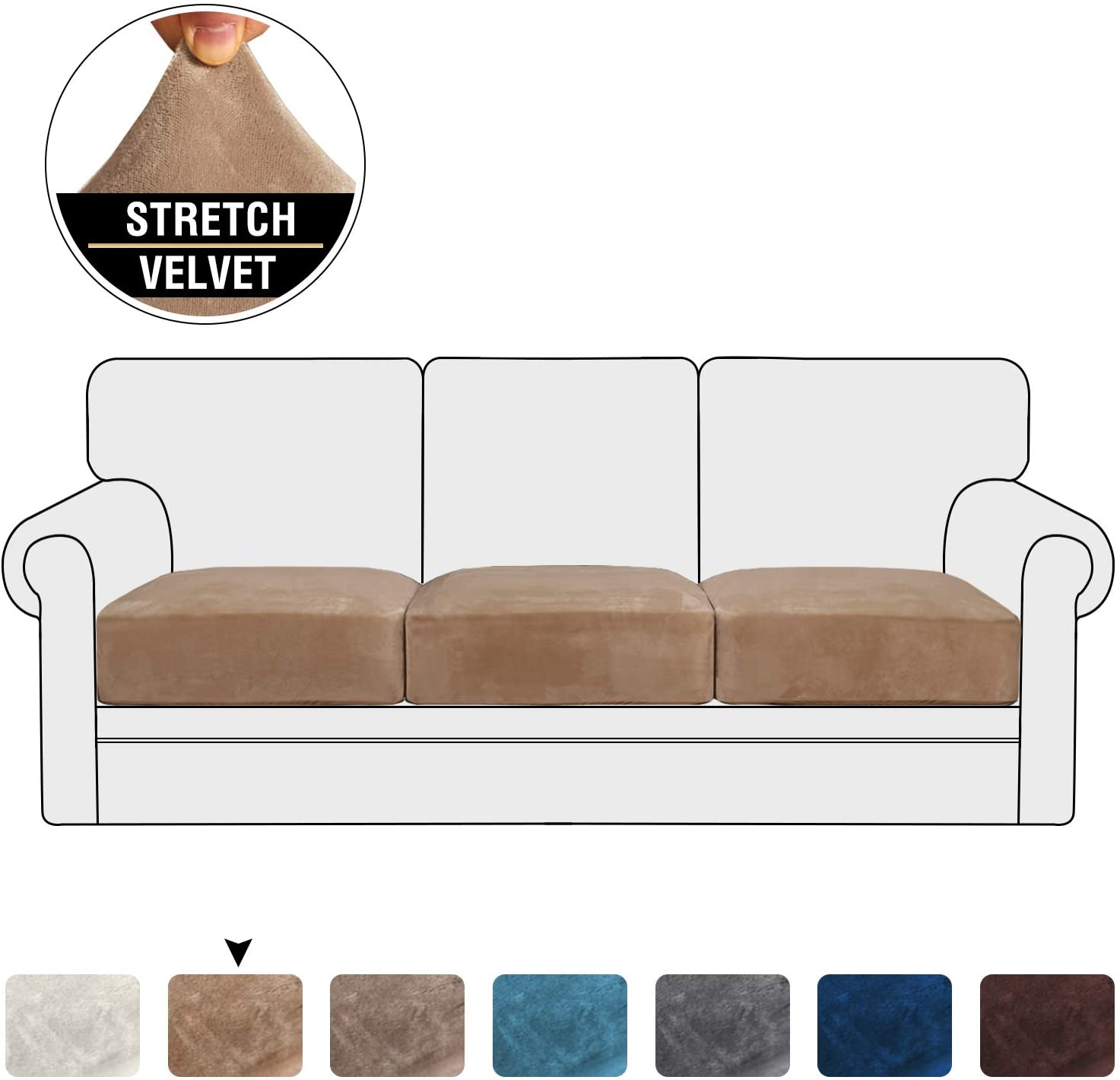 Stretch Velvet Couch Cushion Covers for Individual Cushions Sofa Cushion Covers Seat Cushion Covers, Thicker Bouncy with Elastic Edge Cover up to 10 Inch Thickness Cushions (3 Pieces, Camel)