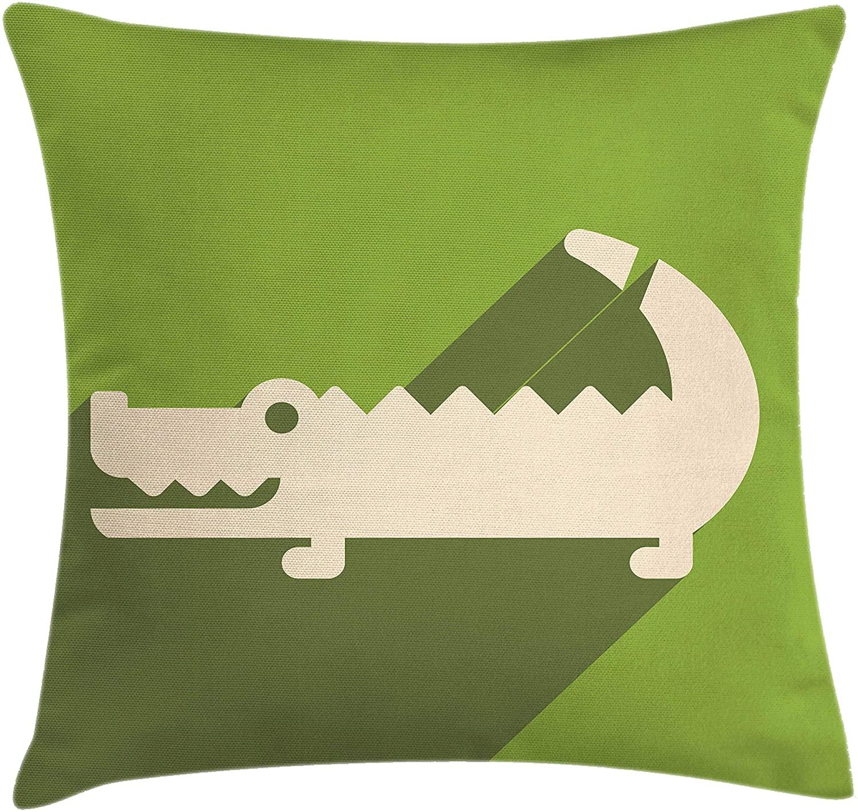 Lunarable Alligator Throw Pillow Cushion Cover, Minimalist Flat Design of Long Shadow Australian Crocodile, Decorative Square Accent Pillow Case, 20 X 20, Olive Green