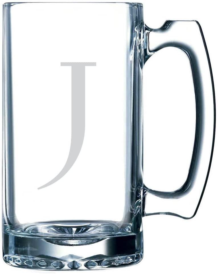 Celtic Etched Monogram 25oz Libbey Sports Beer Mug (Letter J)