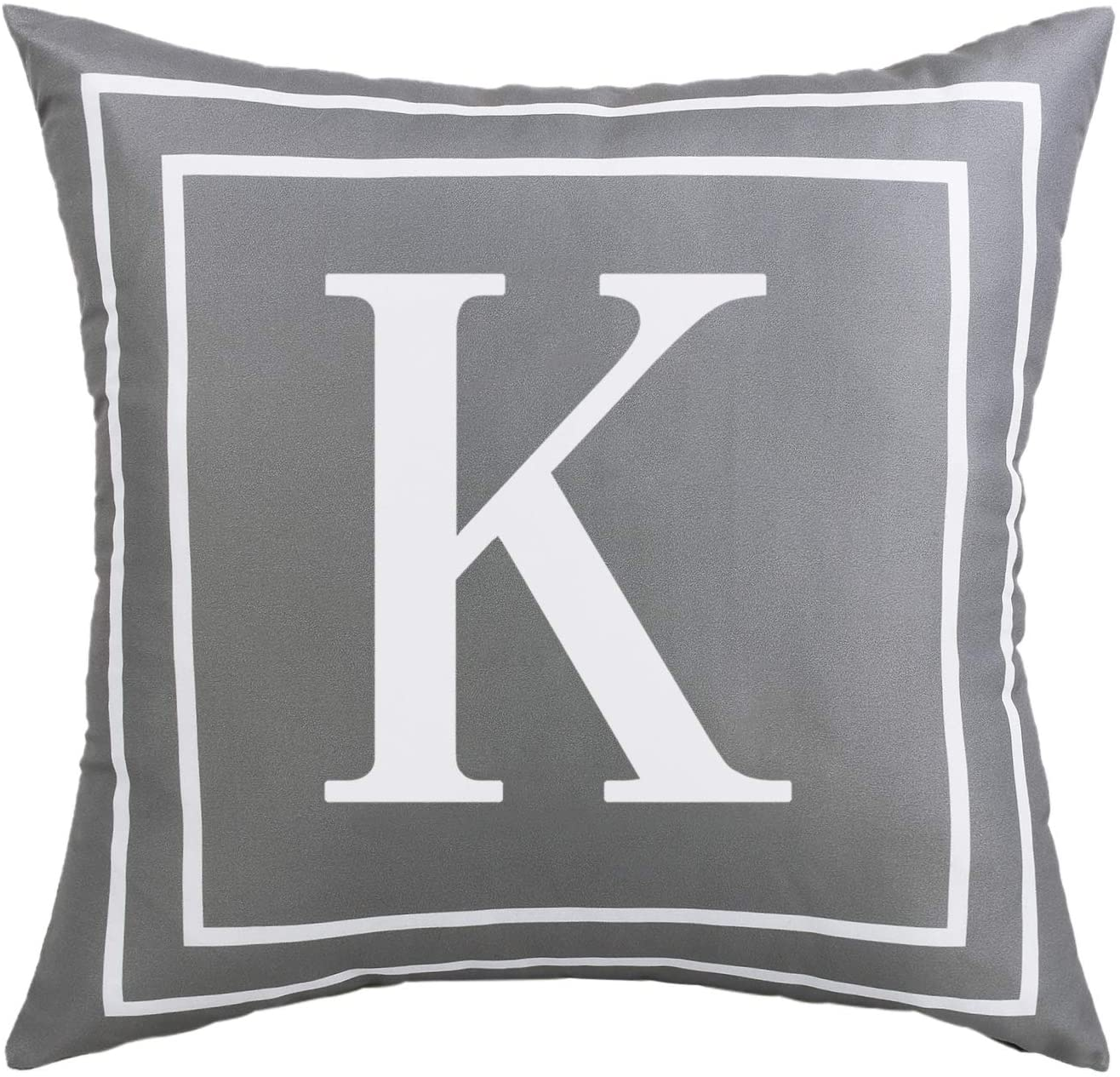 Fascidorm Gray Pillow Cover English Alphabet K Throw Pillow Case Modern Cushion Cover Square Pillowcase Decoration for Sofa Bed Chair Car 16 x 16 Inch