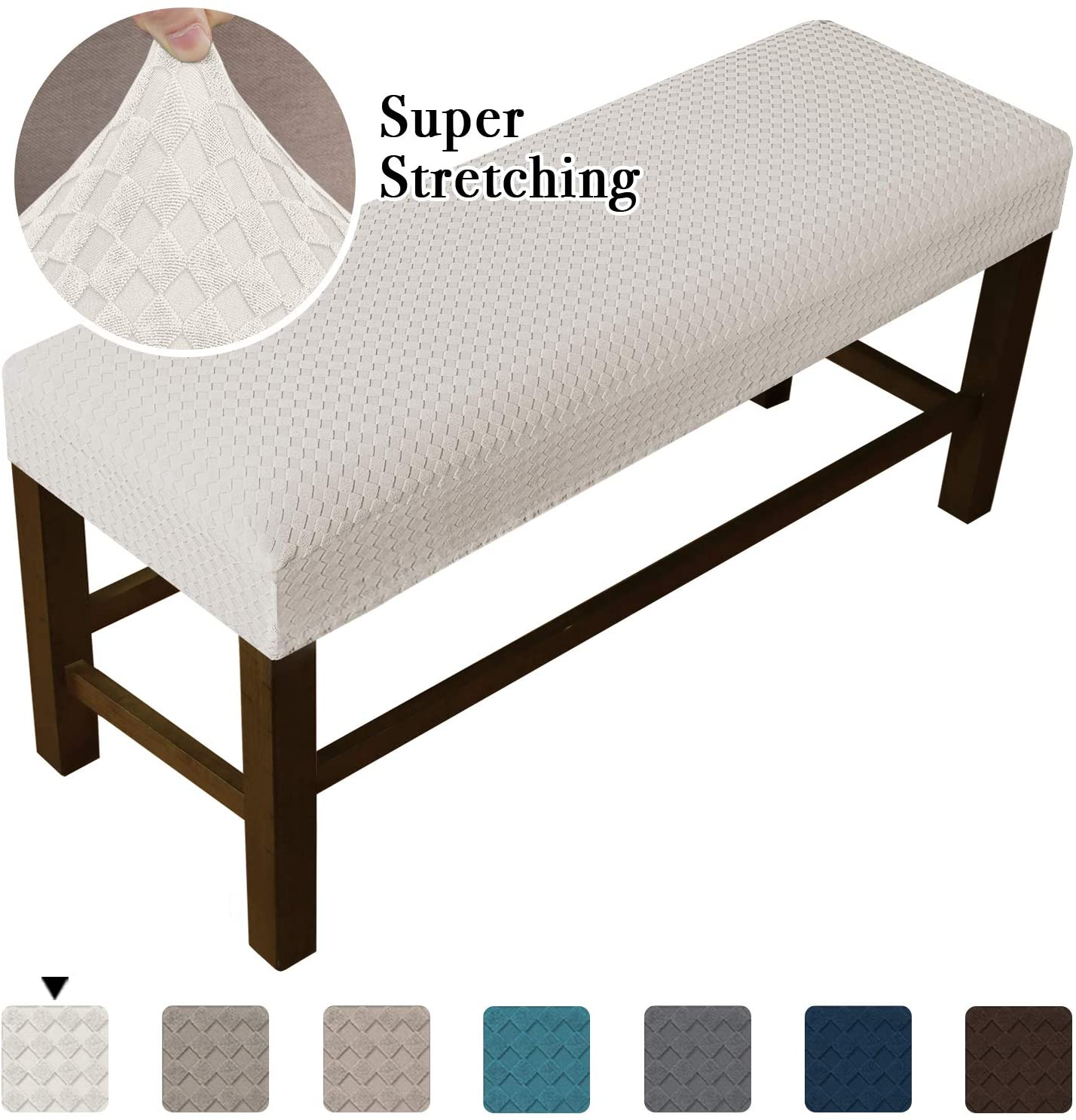 Stretch Bench Covers for Living Room Stretch Spandex Bench Slipcover Rectangle Removable Washable Bench Furniture Seat Protector (Medium, Ivory)