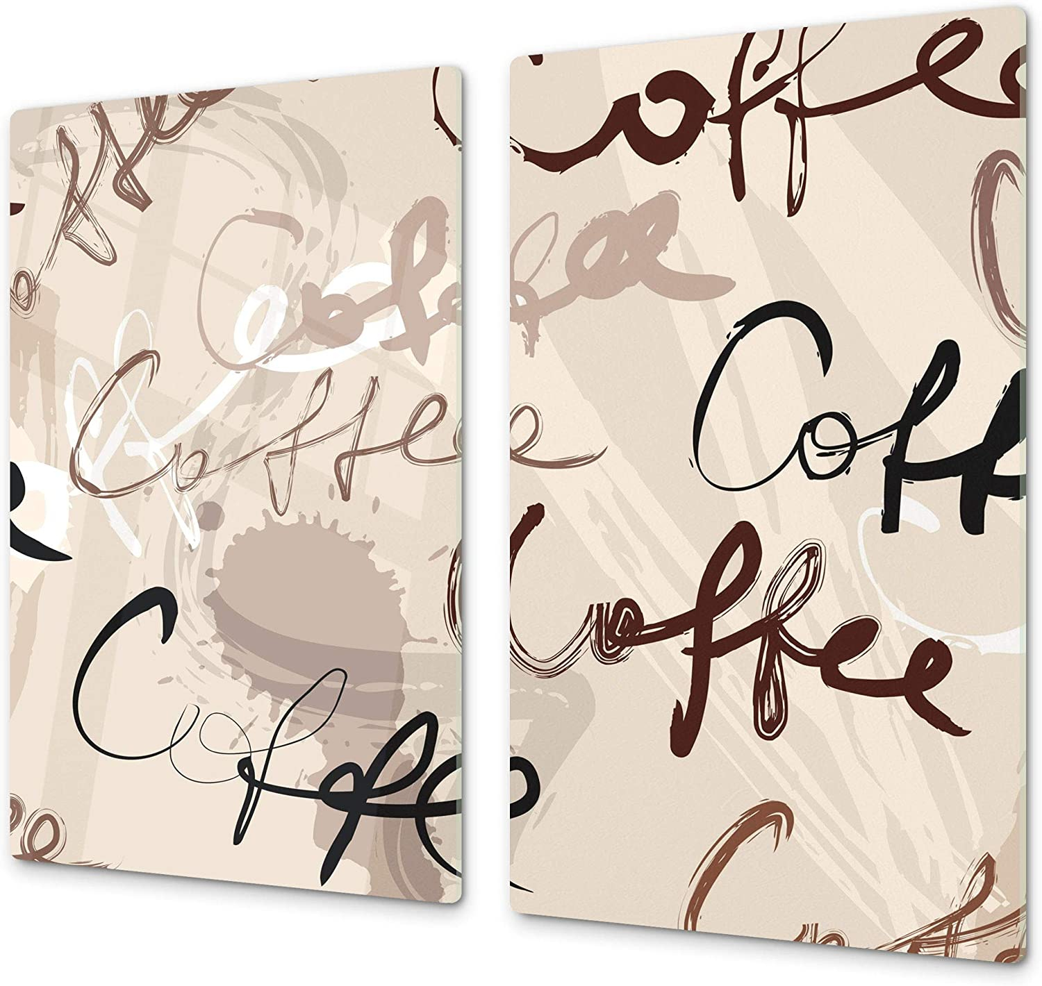 """KITCHEN BOARD & Induction Cooktop Cover – Glass Pastry Board; MEASURES: SINGLE: 23,62"""" x 20,47""""; DOUBLE: 2x 11,81"""" x 20,47""""; D05 Coffee Series: Coffee 64"""