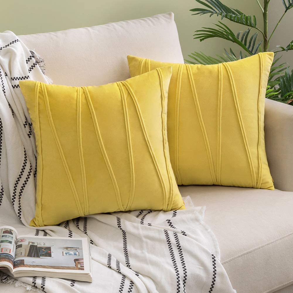 Woaboy Pack of 2 Striped Velvet Throw Pillow Covers Modern Decorative Solid Cushion Covers Pillowcases Square Soft Cozy for Bed Sofa Couch Car Living Room 26x26inch 65x65cm Lemon Yellow