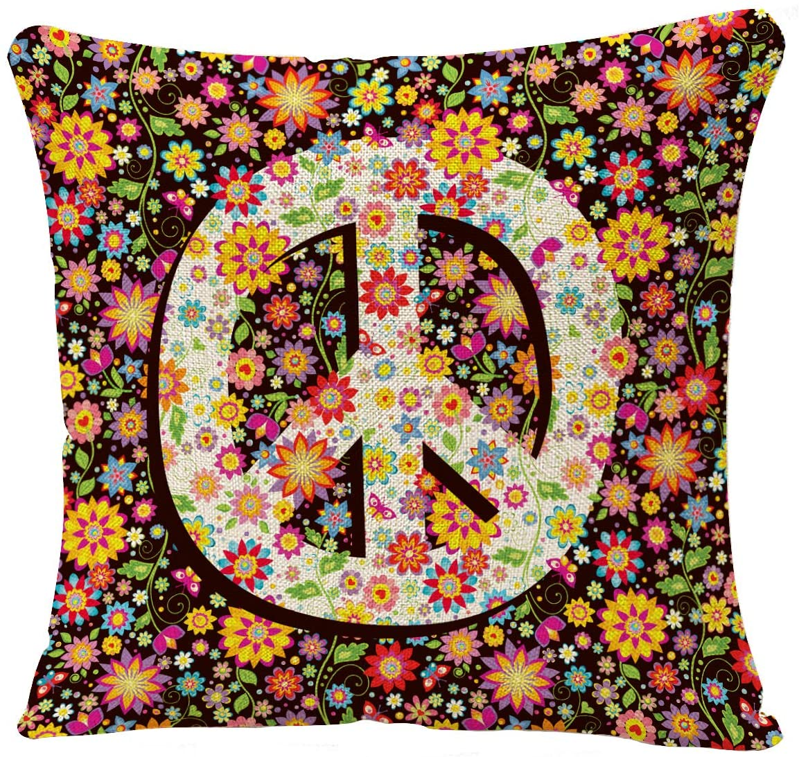 YGGQF Throw Pillow Covers Pillowcase Tip Vintage Colors Peace Flower Hippie Throw Pillow Case Decorative Cushion Cover Sofa Bed 18 x 18 Inch