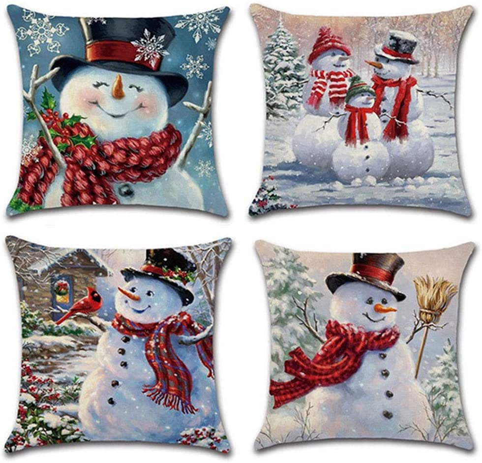 QISHOP Set of 4 Christmas Throw Pillow Covers 18x18 Inch Winter Decorative Couch Pillowcases, Cotton Linen Case Set Square Cushion Protectors for Living Room, Bed and Sofa, Great Home Decor (Snowman)