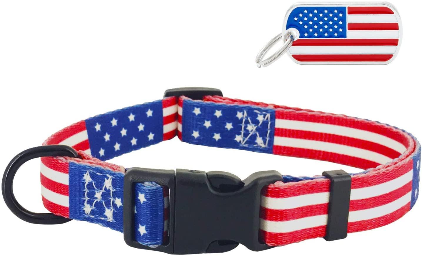 UVONOKAY American Flag Dog Collar and Leash in 3 Different Sizes American Flag Collar y Correa para Perros en 3 tamaños diferentes