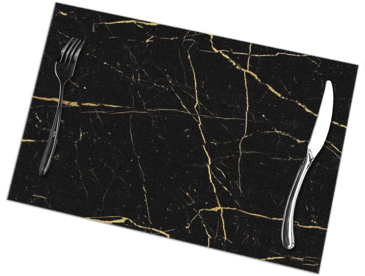 Heat Insulation Placemats Stain Resistant Large Tablemats for Dining Table,Anti-Skid Place Mats - 12x18 inch, Easy to Clean Placemat for Dining Table (6 Pieces, Black Gold Marble Home Mat)