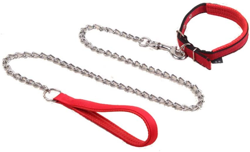 Dog Leash with Chain Lead, 4 Ft Heavy Duty Dog Leashes Soft Padded Handle Dog Chain Lead and Adjustable Tactical Dog Collar Military Nylon Heavy Duty Metal Buckle for little & Medium Size Pets Walking