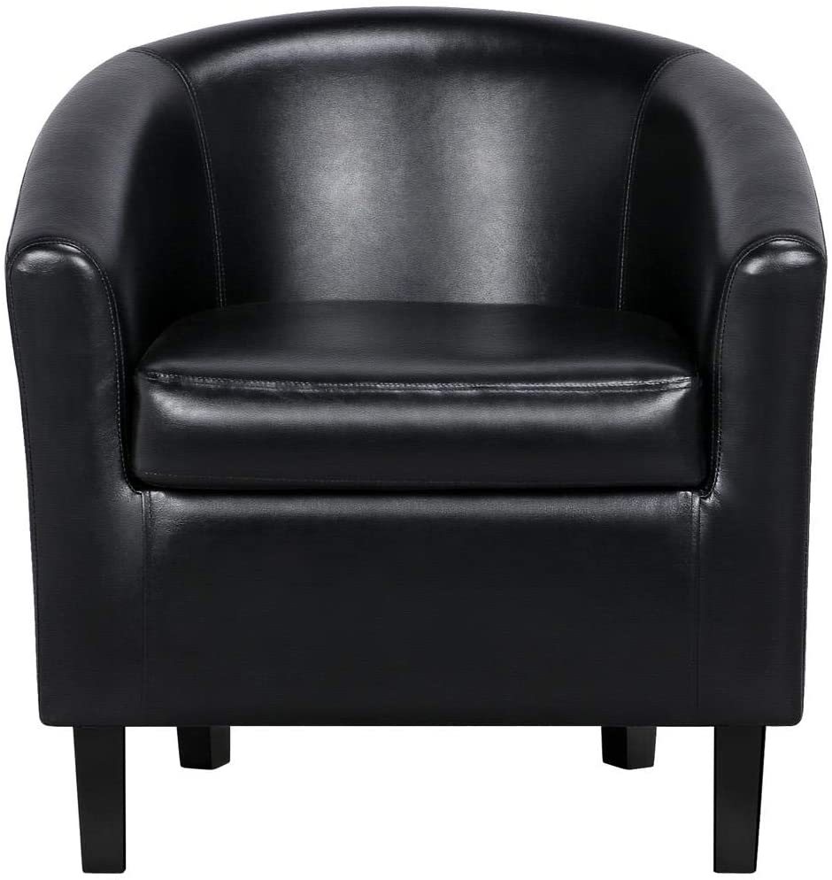 YAHEETECH Accent Chair Modern Arm Club Chair Faux Leather Tub Barrel Style for Living Room Bedroom Reception Room Black