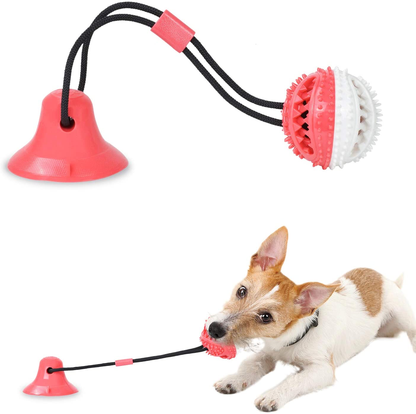 PetBonus Suction Cup Dog Chew Toys, Interactive Dog Puzzle Toys, Dog Teeth Cleaning Toys, Durable Dog Rope Toy with Treat Ball for Small Medium Large Dog