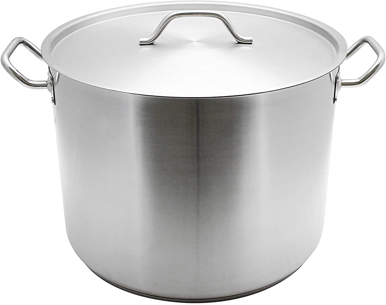 Restaurant Essentials 60 quart 18/8 Steel stock pot w/lid, comes in each