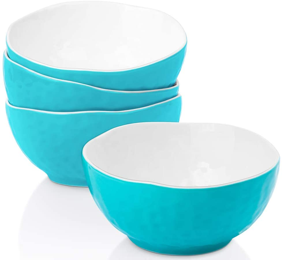 Salad Bowls, Krokori Ceramic Bowls Cereal Bowls Soup Bowls for Salad, Cereal, Pasta, Desserts and Daily Use - 18 Ounce - Set of 4 (Aquamarine)