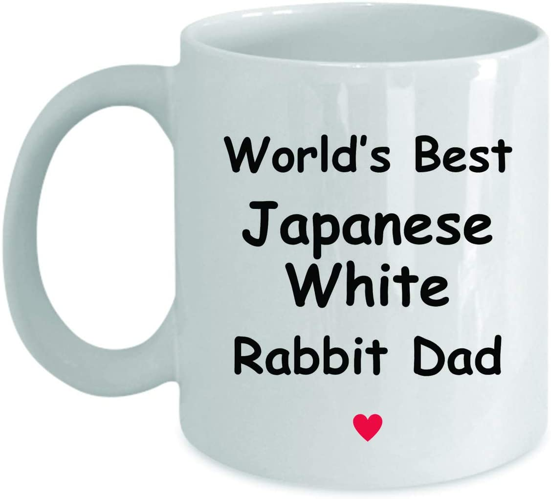 Gift For Japanese White Rabbit Dad - Worlds Best - Fun Novelty Gift Idea Coffee Tea Cup Funny Presents Birthday Christmas Anniversary Thank You Appreciation 11oz White Mug