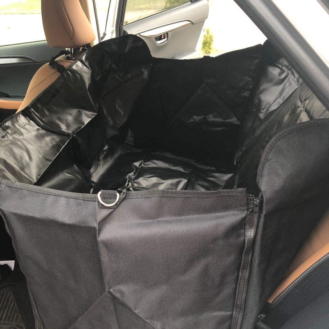 FixtureDisplays Car Rear Heavy Duty Waterproof Slip-Proof Foldable Pet Dog Car Hammock Back Seat Cover Mat - Black 12229-BLACK