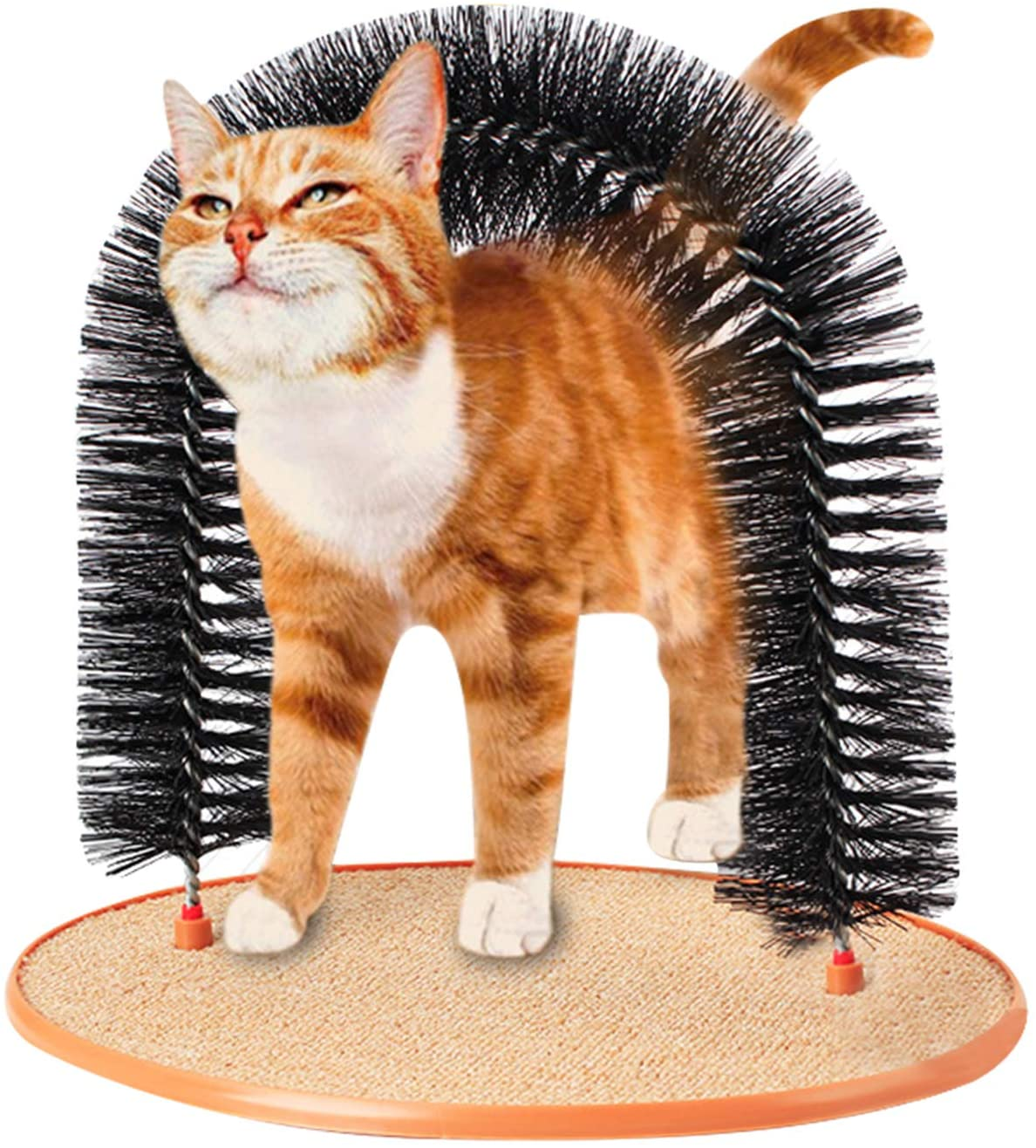 Cats Arch Self Groomer Massager Pet Puppy Cat Scratcher Cat Groom Toy Dog CombBrushes Controls Shedding Cat Lounge Games Toys with Scratch Pad and Catnip Fur Grooming Interactive Kitten Toys