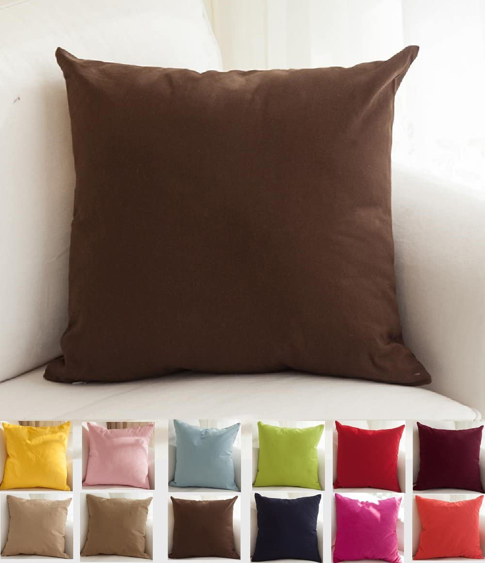 TangDepot Cotton Solid Throw Pillow Covers, 16 x 16 , Deep Coffee