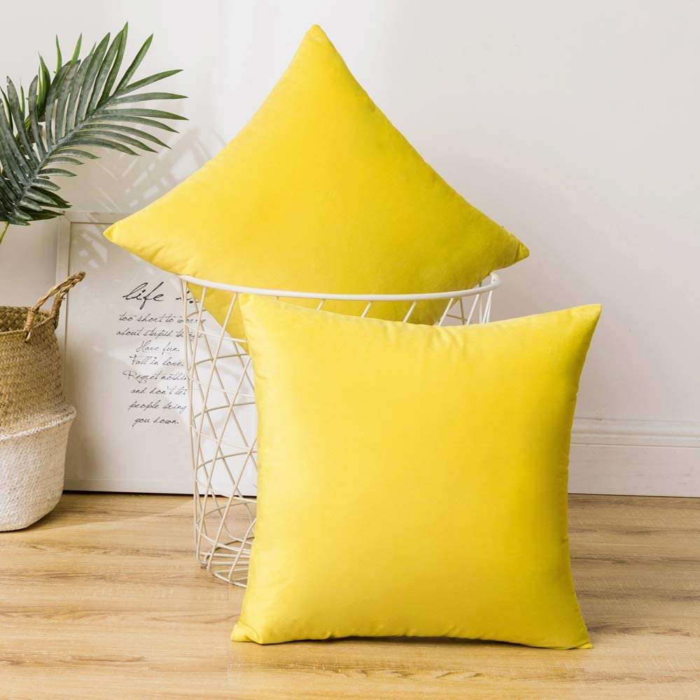 ANRODUO Pack of 2 Velvet Throw Pillow Covers Cushion Case Soft Decorative Solid Square Cozy Modern Home Decorations Pillowcase for Sofa Couch Bed Chair 20 x 20 Inch 50 x 50 cm Lemon Yellow