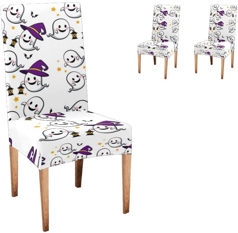 Qearl Happy Halloween Dining Chair Covers, Spandex Removable Washable Dining Chair Protector Slipcovers for Home, Kitchen, Party, Restaurant Set of 2