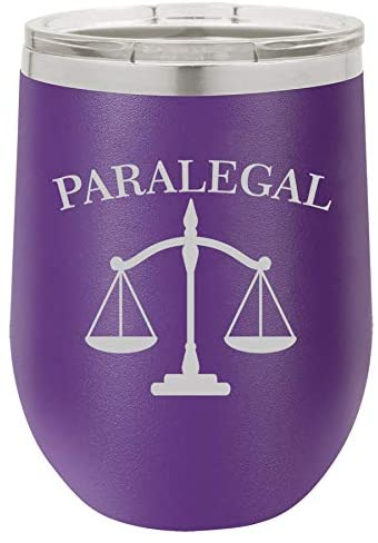 12 oz Double Wall Vacuum Insulated Stainless Steel Stemless Wine Tumbler Glass Coffee Travel Mug With Lid Paralegal (Purple)
