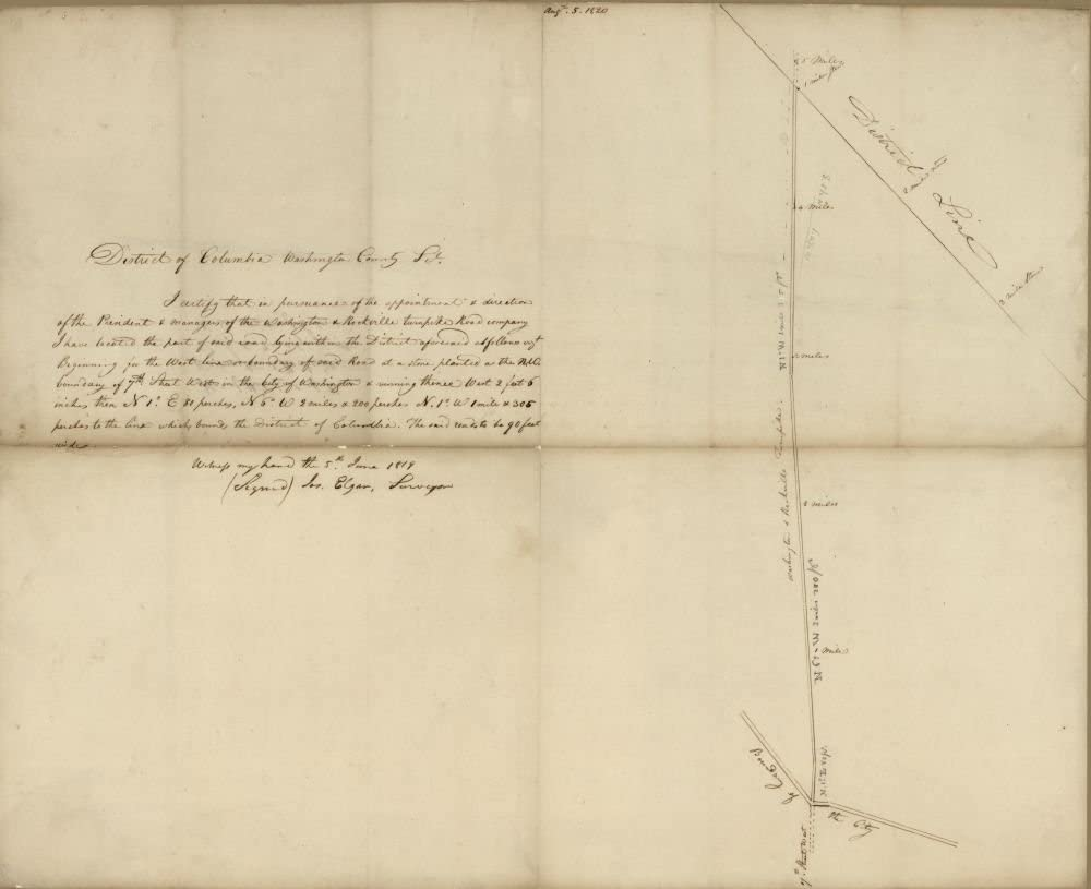 Vintage 1819 to 1820 Map of Plat of that part of the Washington & Rockville Turnpike Road lying within the District of Columbia - Covers the presentday Georgia Avenue N.W. between Florida Avenue and the District line. - At upper edge: Aug't 5, 1820. - Title from verso. - Alternate title at head of text: District of Columbia, Washington County, pt. - Pen-and-ink and lead pencil. - Georgia Avenue, United States, Washington, Washington D.C.