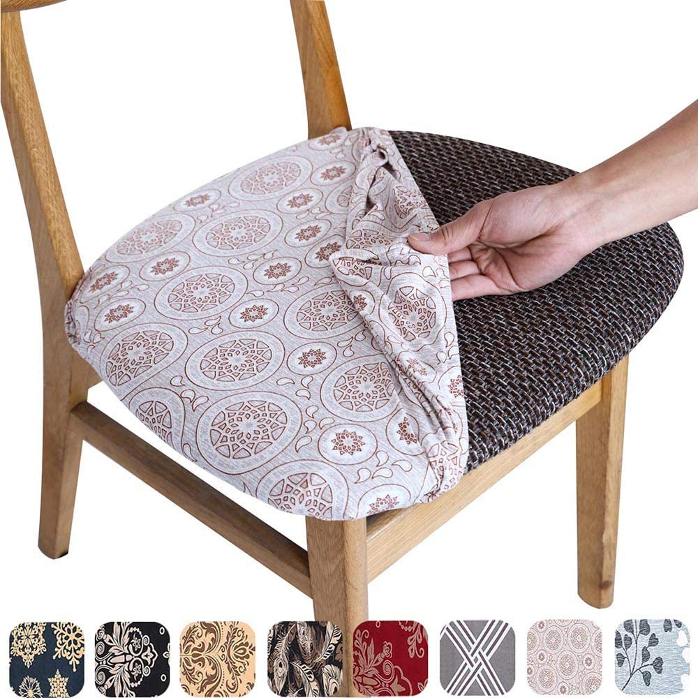 Melanovo Stretch Printed Dining Room Chair Seat Covers, Removable Washable Spandex Anti-Dust Upholstered Chair Seat Cushion Slipcovers (Set of 6)
