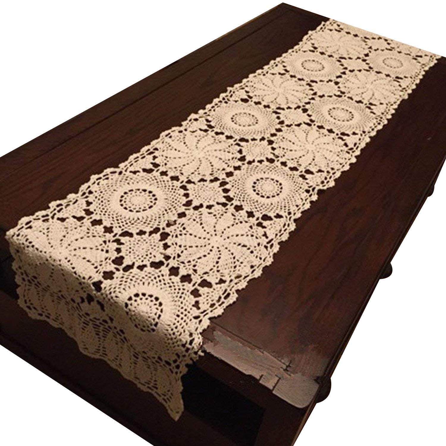 USTIDE Rustic Floral Crochet Table Runner Beige Cotton Lace Table Cover 15
