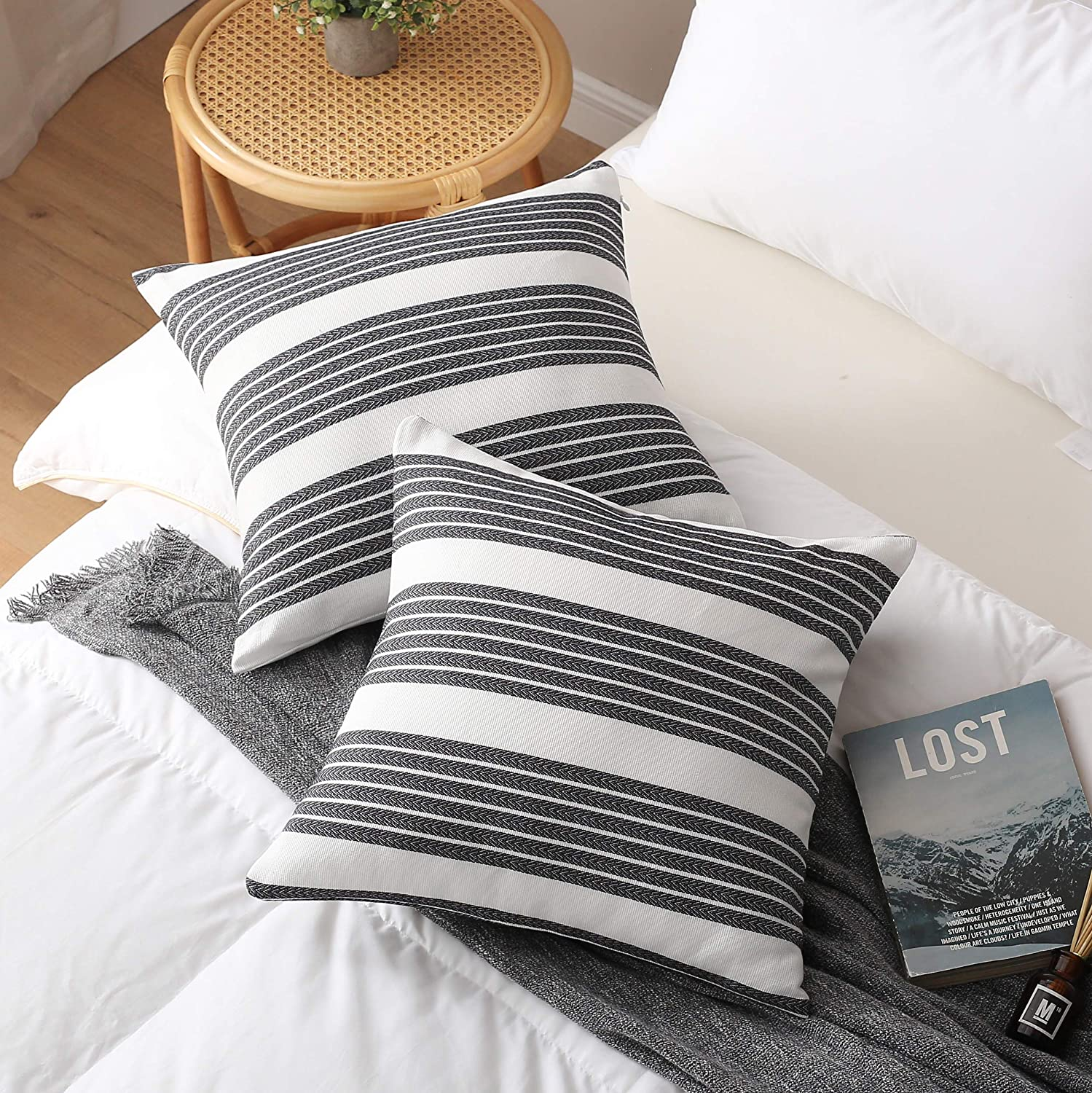 Eggishorn Throw Pillow Cover Decorative Pillowcase 100% Cotton (Pack of 2) Black and White Pattern Cushion Cases for Bed and Couch of Living Room or Bedroom