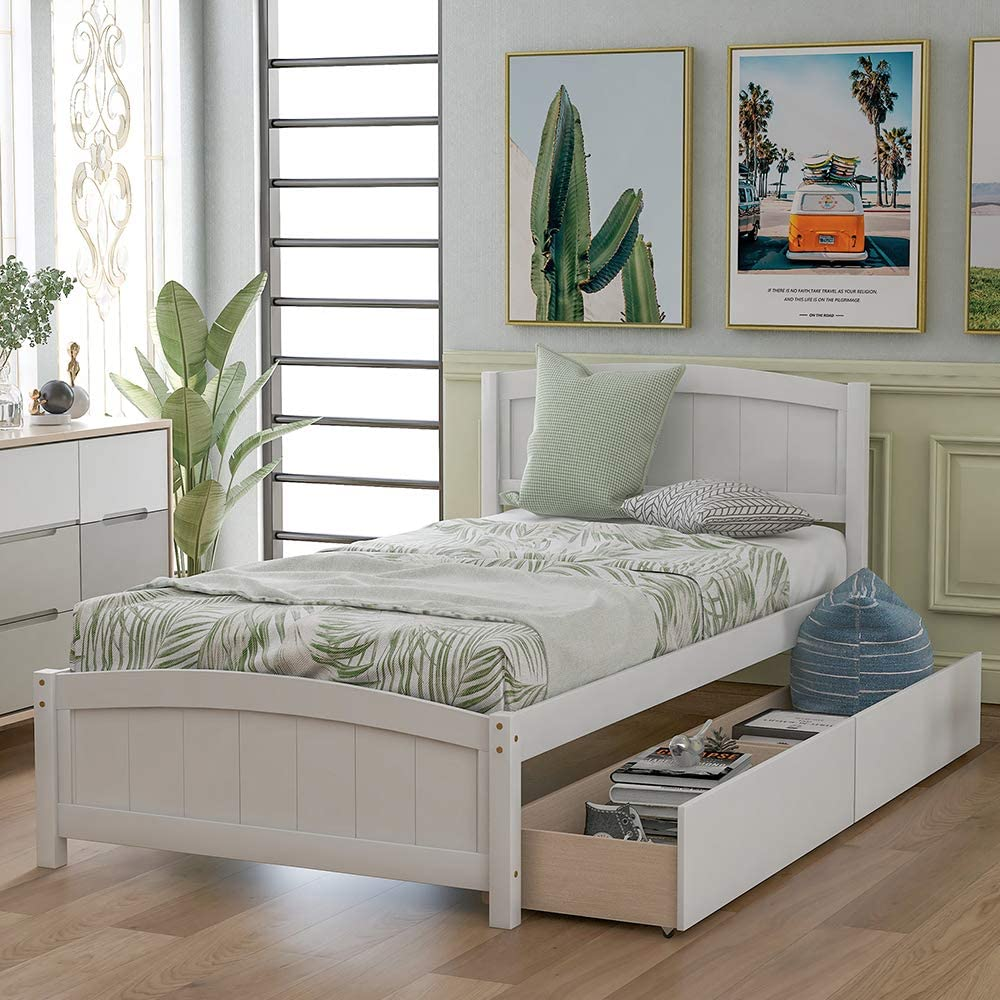 Twin Size Platform Bed with 2 Drawers, Rockjame Solid Pine Wood Bed Frame, Space Saving Design and Minimalist Appearance, Suitable for Kids, Teens and Adults (White)