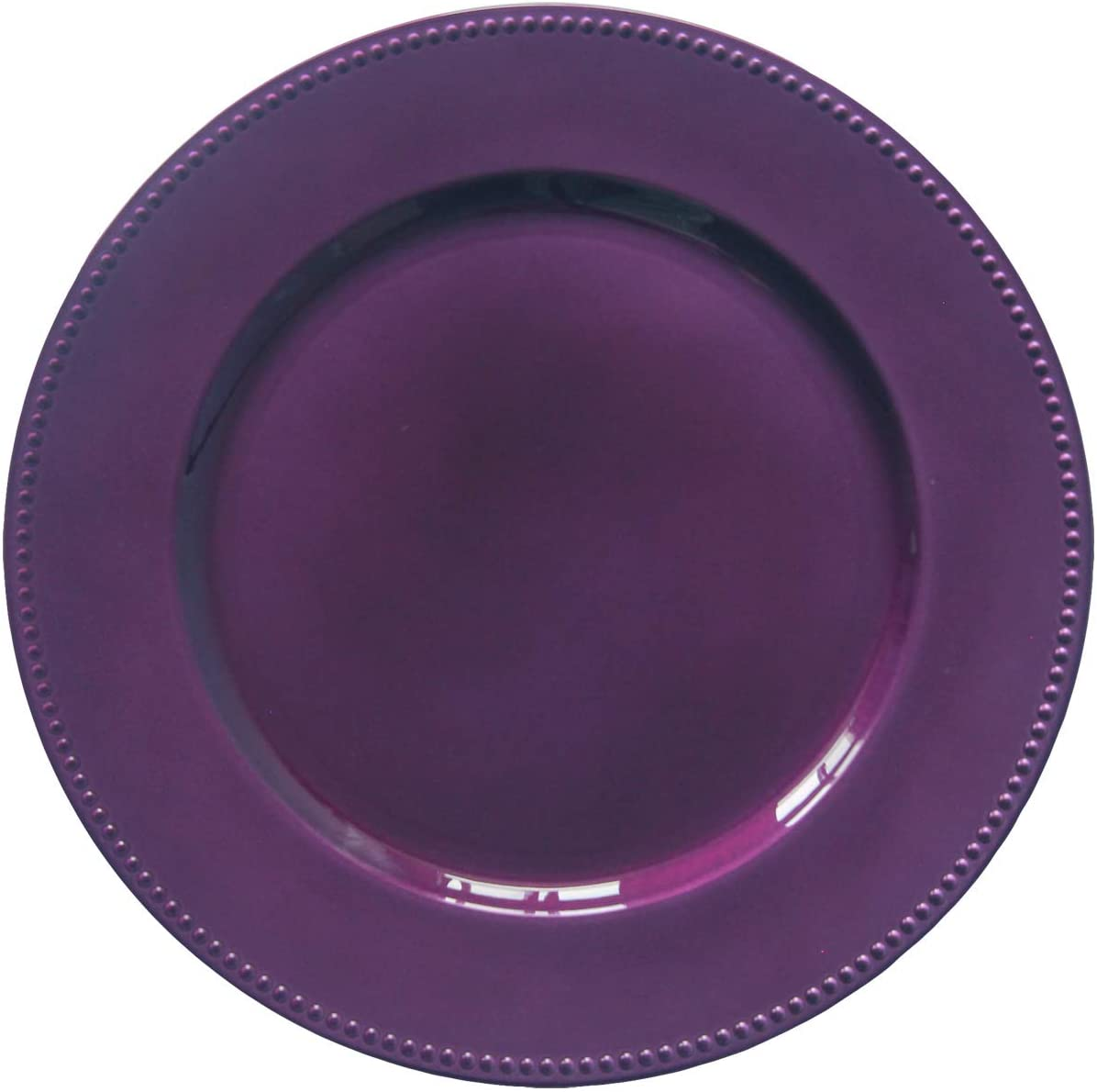 Purple Plastic Beaded Charger Plates - 12 pcs 13 Inch Round Wedding Party Decroation Charger Plates (Purple, 12)