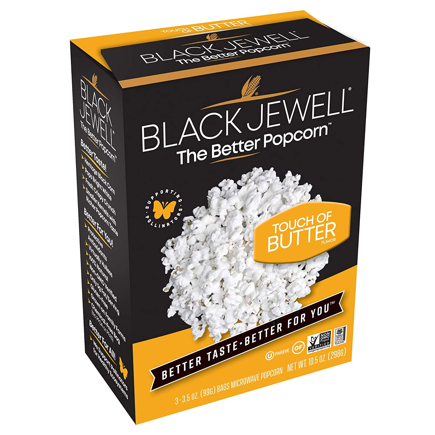 Black Jewell Butter Microwave Hulless Popcorn 10.5 Ounces (Pack of 6)