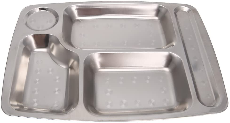 loweyuiroy Divided Tray, Stainless Steel Divided Dinner Tray Lunch Container Food Plate 2#