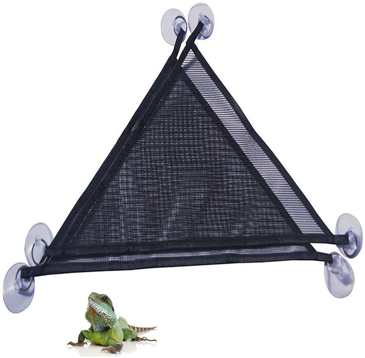 Oncpcare 2 Pack of Reptile Hammock Set, Breathable Mesh Lizard Hammock, Lounger & Ladder Accessories Set for Large & Small Bearded Dragons Anole Geckos Lizards or Snakes