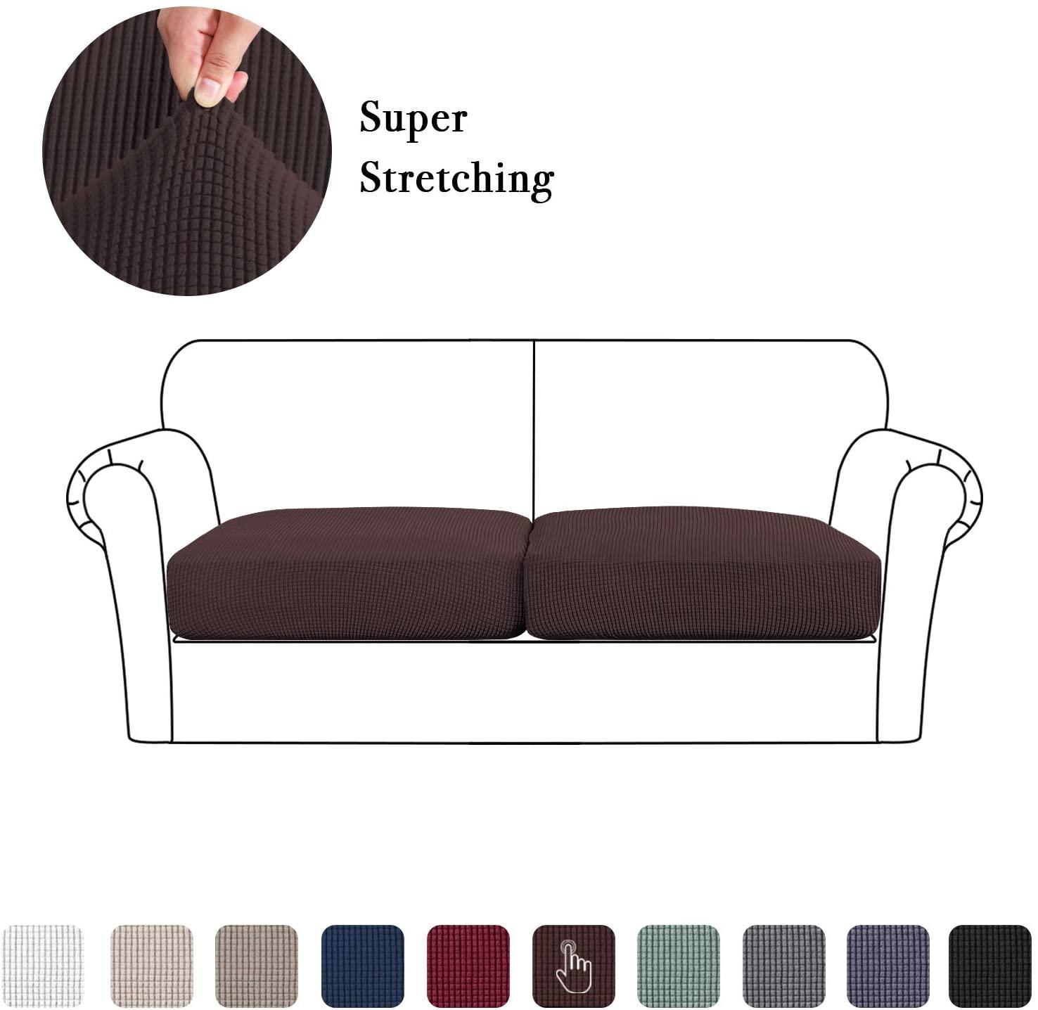 High Stretch Seat Cushion Cover Sofa Cushion Furniture Protector fot Sofa Seat Sofa Slipcover Sofa Cover Soft Flexibility with Elastic Bottom (2 Pieces Cushion Covers, Brown)