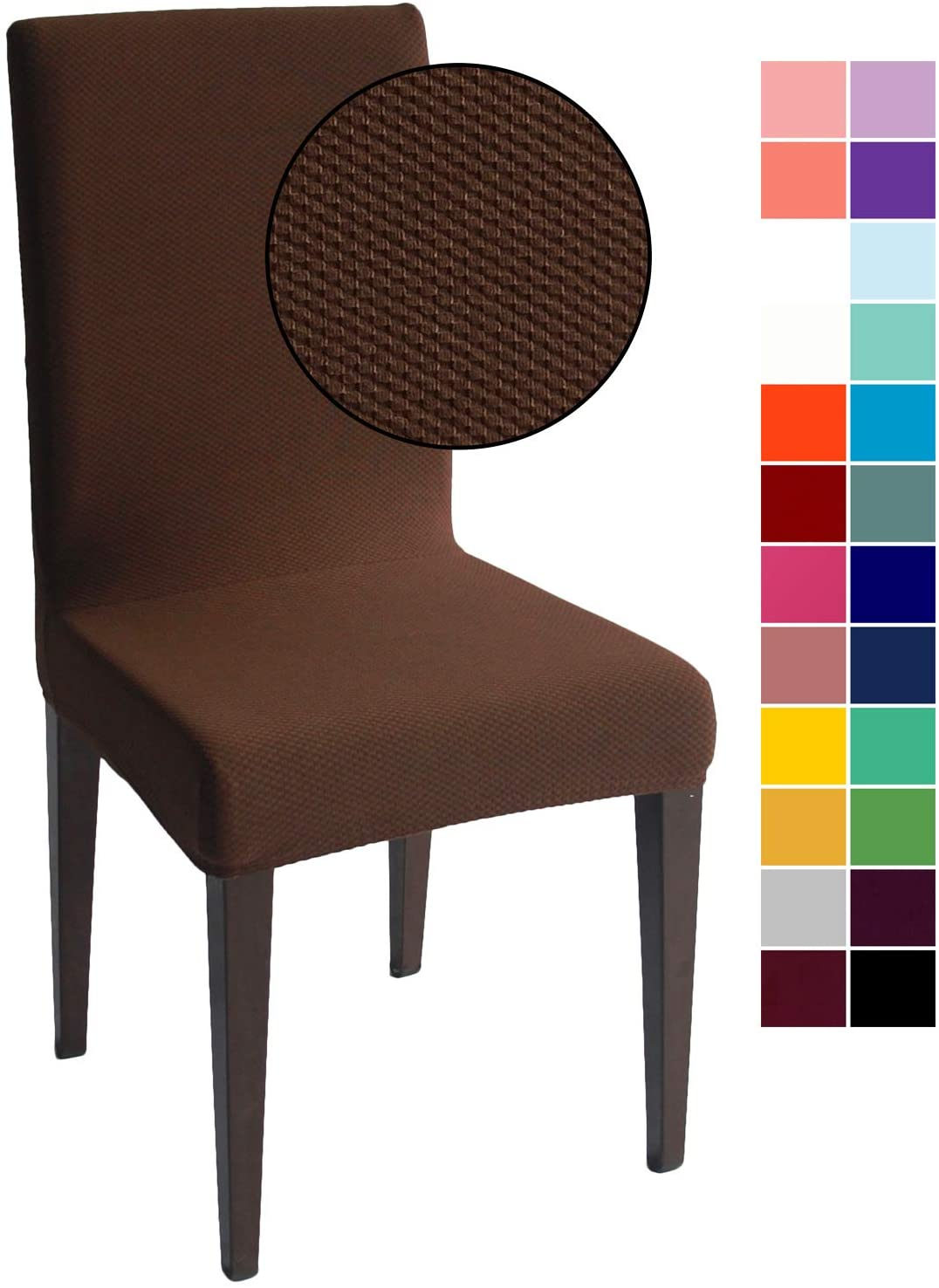 Chocolate Jacquard Spandex Dining Chair Covers - 4 PCS Stretch Removable Washable Dining Chair Slipcovers (Chocolate Jacquard, 4)