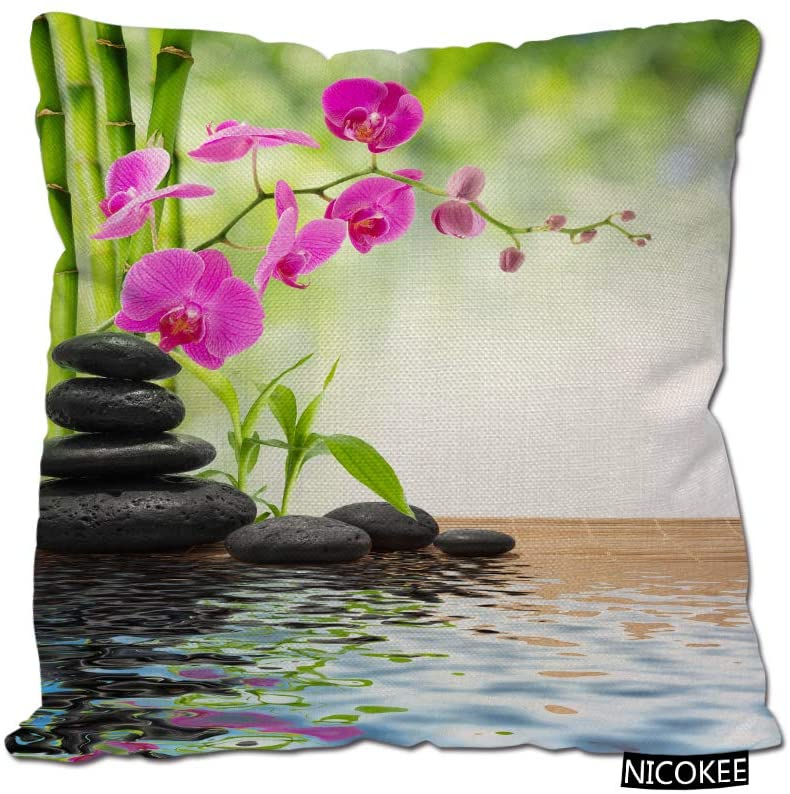 Nicokee Cotton Linen Pillow Covers Orchid Zen Bamboo Pink Flower Throw Pillow Covers Cases for Couch Sofa Bed Home Decor 18 x 18 Inches