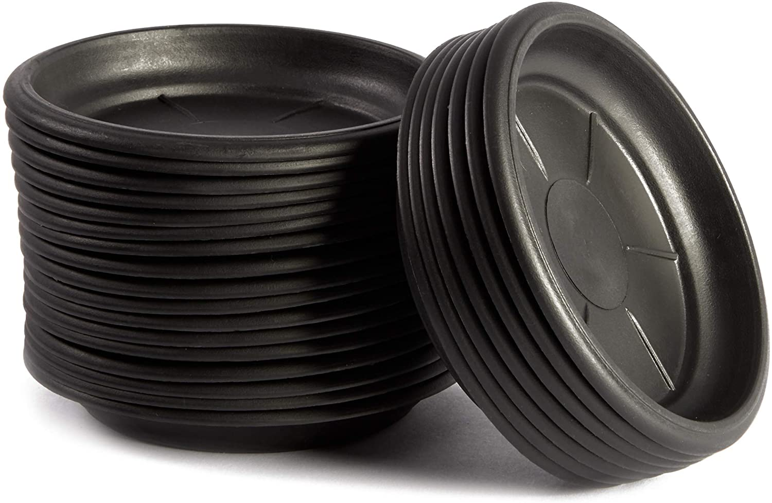 Juvale Round Plant Trays (4 in, Black, 24 Pack)