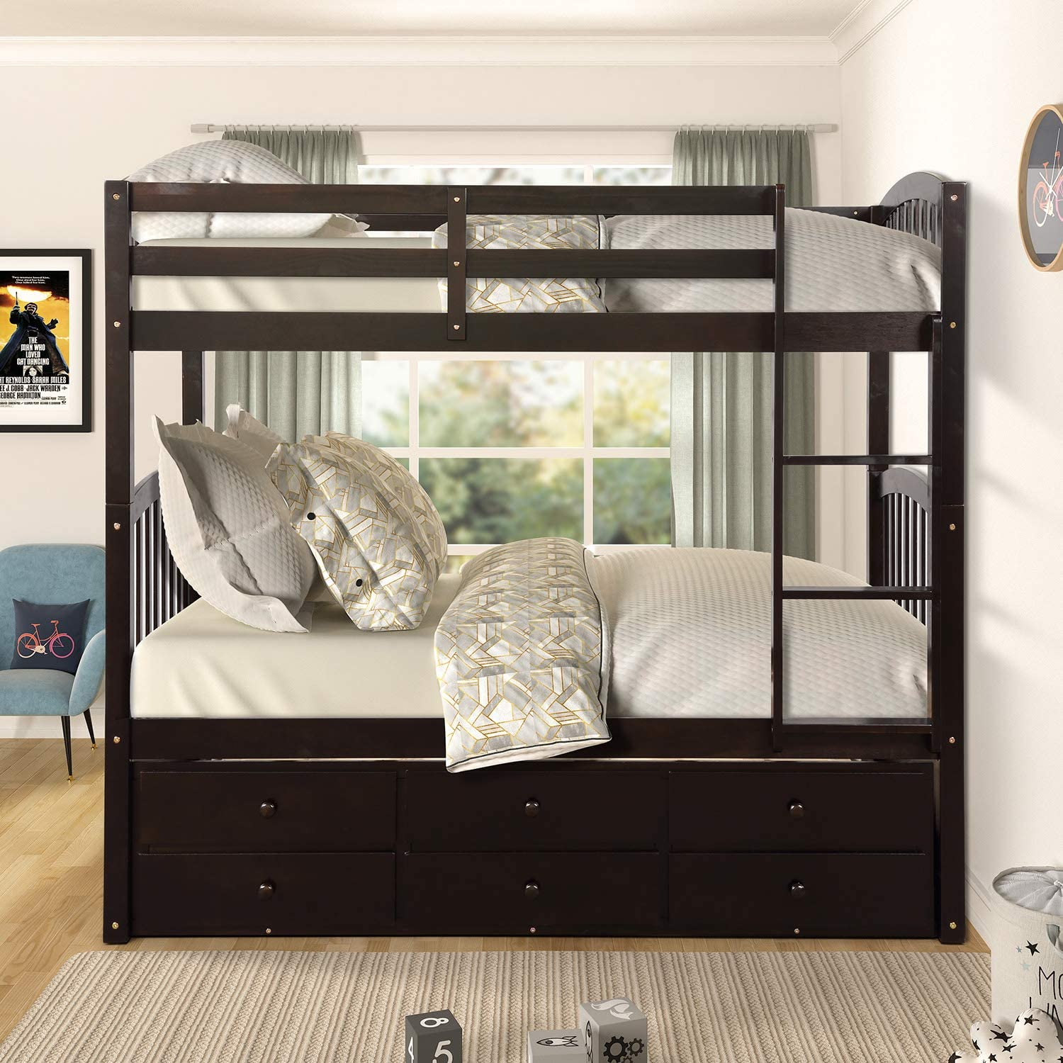 Knocbel Solid Wood Bunk Bed Twin-Over-Twin with Trundle & 3 Drawers, 175 Lbs/ 200 Lbs Capacity Platform Bed Frame with Safety Guard Rail & Ladder (Espresso)