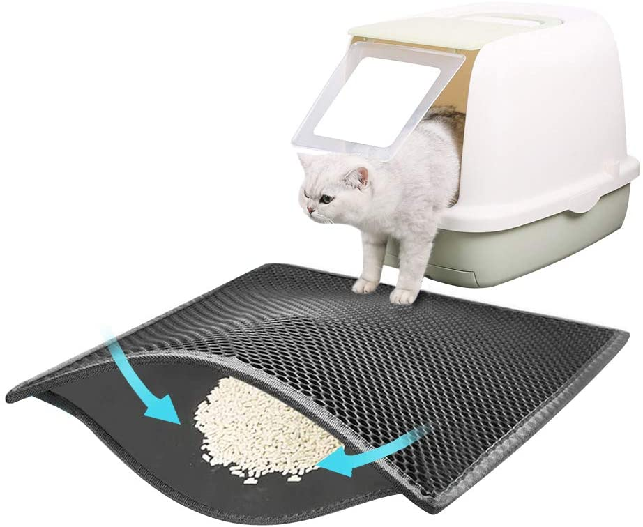 PAWISE Cat Litter Mat Honeycomb Double Layer Waterproof Trapping Mat for Litter Boxes Easy to Clean