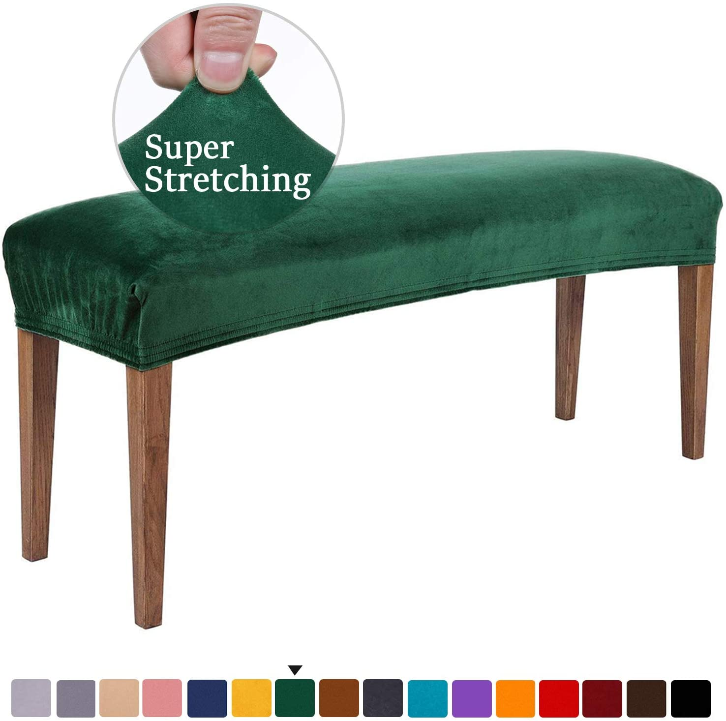 smiry Velvet Dining Room Bench Covers - Soft Stretch Spandex Upholstered Bench Slipcover Removable Washable Bench Seat Protector for Living Room, Kitchen, Bedroom (Dark Green)