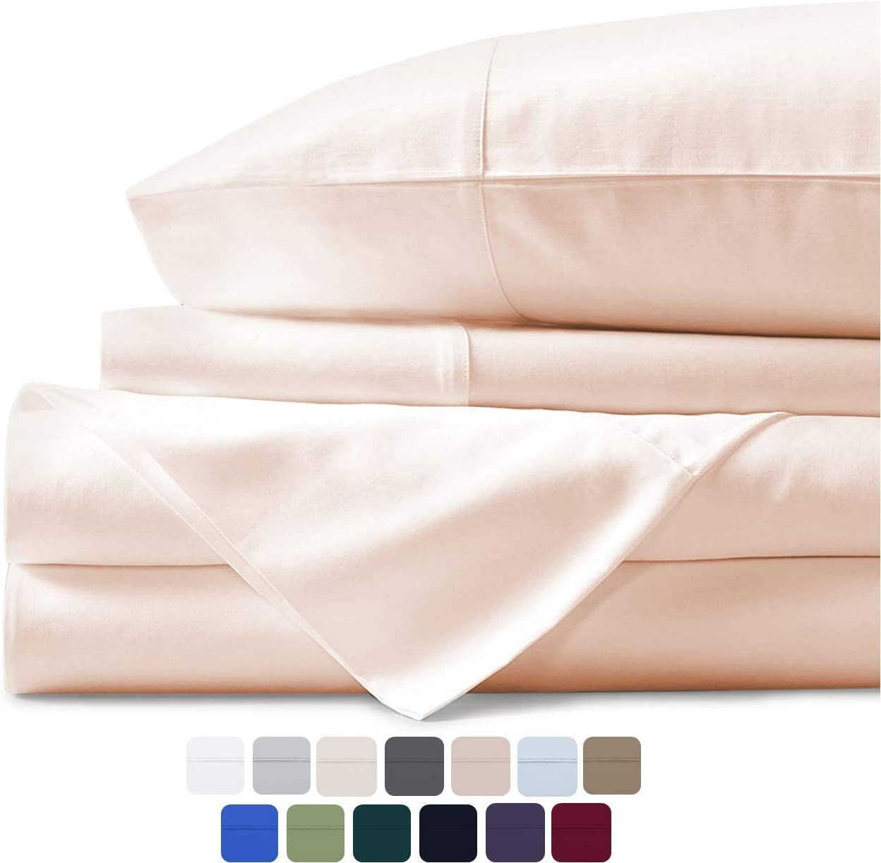 Mayfair Linen 100% Egyptian Cotton Sheets, Ivory California King Sheets Set, 600 Thread Count Long Staple Cotton, Sateen Weave for Soft and Silky Feel, Fits Mattress Upto 18'' DEEP Pocket