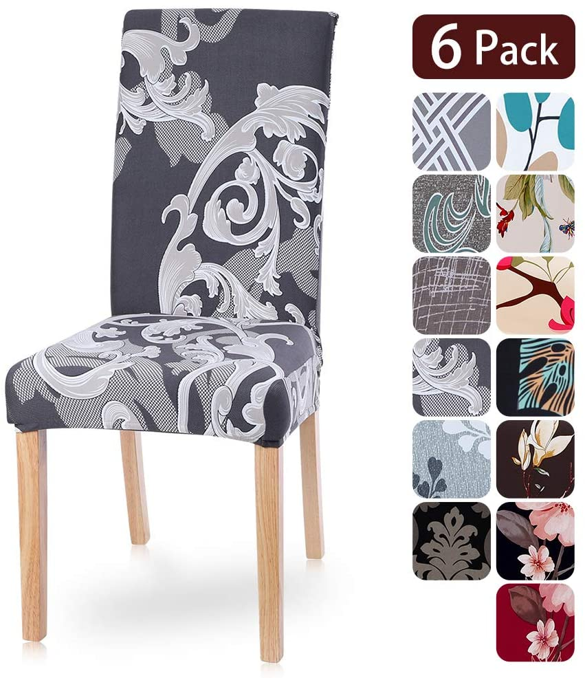 Dining Room Chair Covers Slipcovers Set of 6, Spandex Fabric Fit Stretch Removable Washable Kitchen Chair Covers Protector for Dining Room, Hotel, Ceremony (pattern3, 6 per Set)