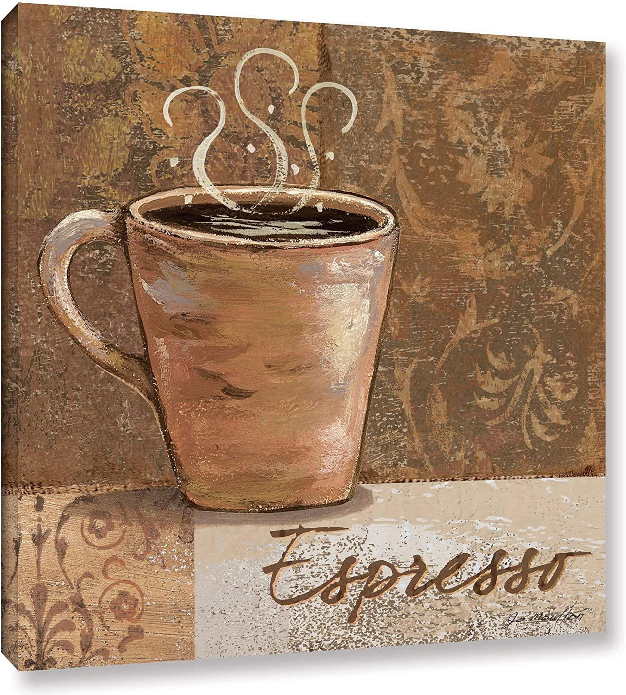 MISC 14 x 14 Brown Beige Espresso Cup of Coffee Canvas Wall Art Coffee Lovers Print Kitchen Italian Coffee CafàBean Caffeine Beverage Contemporary White, Cotton Wood