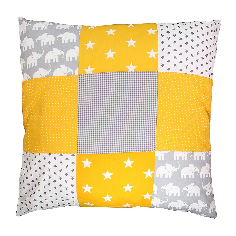 "Soft Cotton Nursery Throw Pillow Cover by ULLENBOOM | Elephant/Star/Polka Dot | Decorative Euro Sham | 26"" x 26"" - Unisex Yellow/Grey"
