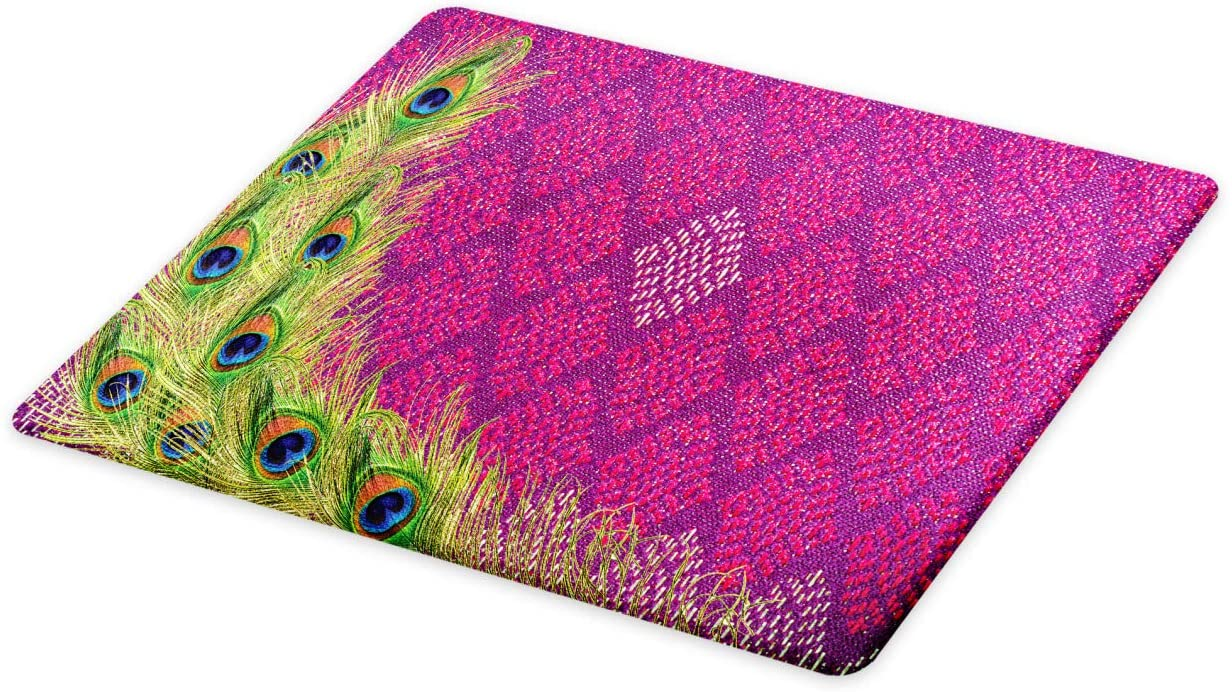 Lunarable Peacock Cutting Board, Peacock Feather Vintage Style Geometric Background Flourish Contrast Colors, Decorative Tempered Glass Cutting and Serving Board, Large Size, Magenta Green Blue