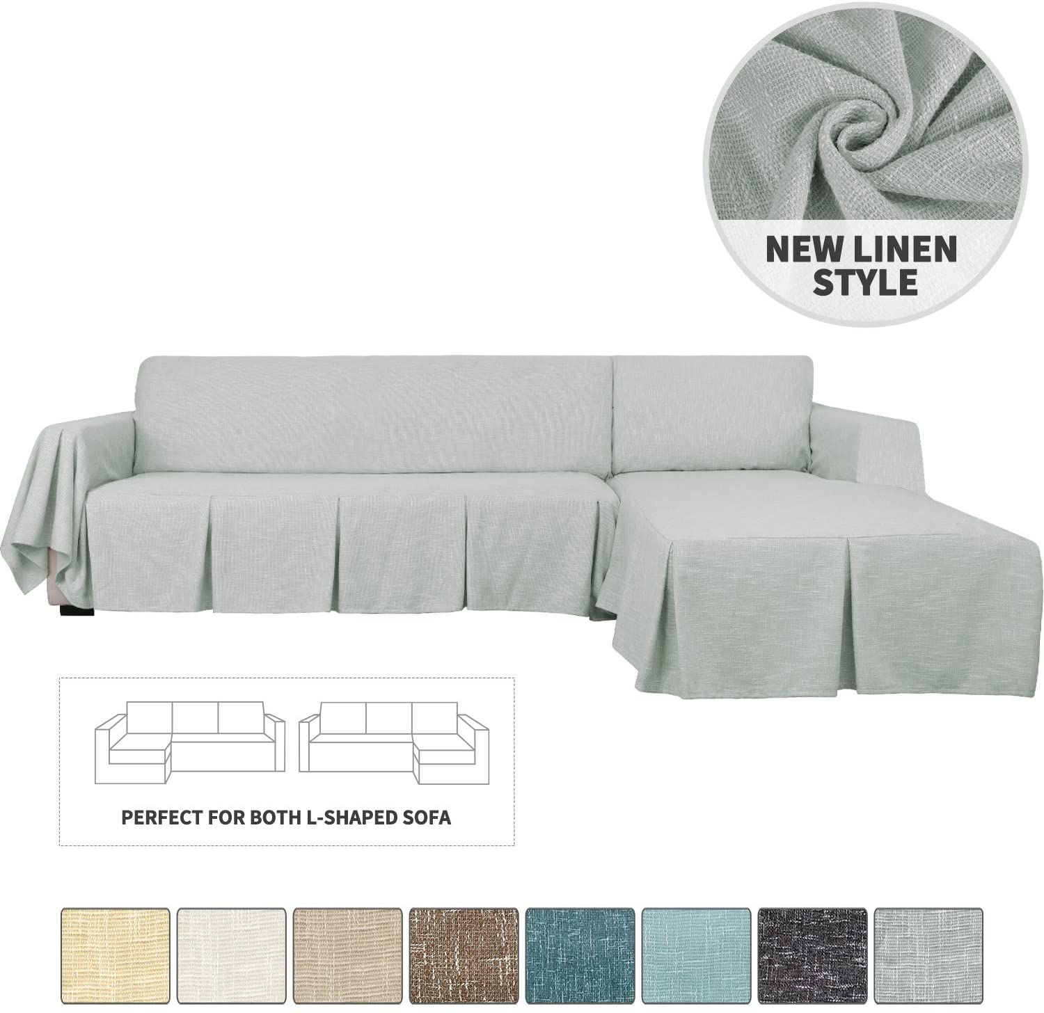 YEMYHOM Sectional Couch Covers 2-Piece Linen L Shape Sofa Cover with Ruffles Durable Slip Covers for Dogs Furniture Protector Slipcovers for Living Room (2-Seat with Left Chaise, Light Gray)